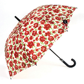 "Laura Ashley Garden 2'1"" Cressida Red Round Patio Umbrella"