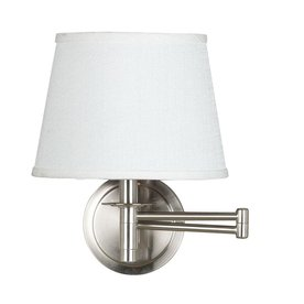 Kenroy Home 14-in H Brushed Steel Swing-Arm Wall-Mounted Lamp with Fabric Shade