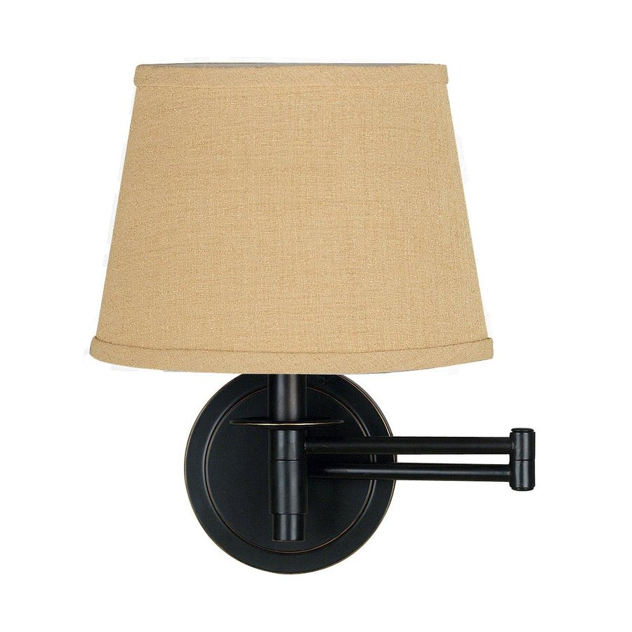 bronze swing arm wall mounted lamp with fabric shade at. Black Bedroom Furniture Sets. Home Design Ideas