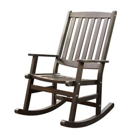 Shop Home Styles Black Wood Slat Seat Outdoor Rocking Chair At