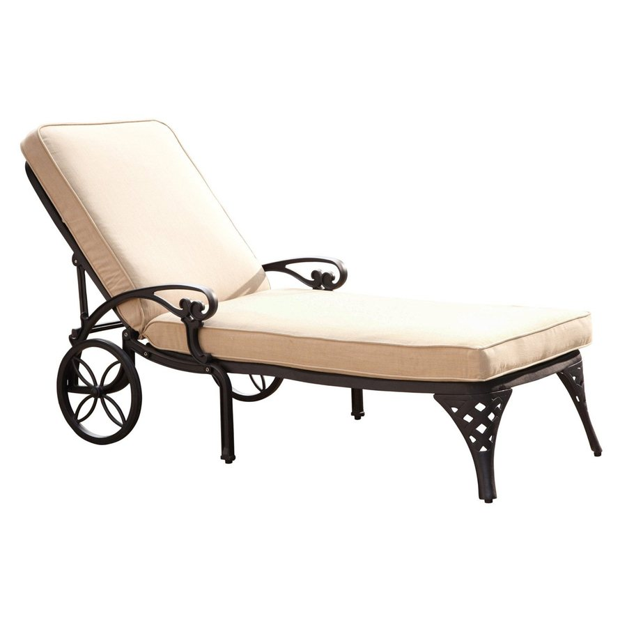 Shop home styles cushioned aluminum single patio chaise for Aluminum outdoor chaise lounge