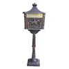 Oakland Living 15.75-in x 59.25-in Metal Antique Bronze Lockable Ground Mount Mailbox with Post