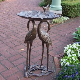 Shop Oakland Living 2 Crane Lily 29 In Cast Iron 1 Tier Oval Birdbath At Lowe