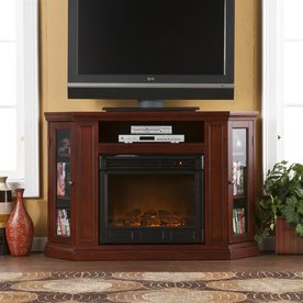 Boston Loft Furnishings 48-in W 4,700-BTU Cherry Wood Fan-Forced Electric Fireplace with Thermostat and Remote Control