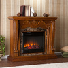 Boston Loft Furnishings 45.25-in W 4,700-BTU Walnut Wood Fan-Forced Electric Fireplace with Thermostat and Remote Control