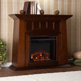 Boston Loft Furnishings 48-in W 4,700-BTU Espresso Wood Fan-Forced Electric Fireplace with Thermostat and Remote Control