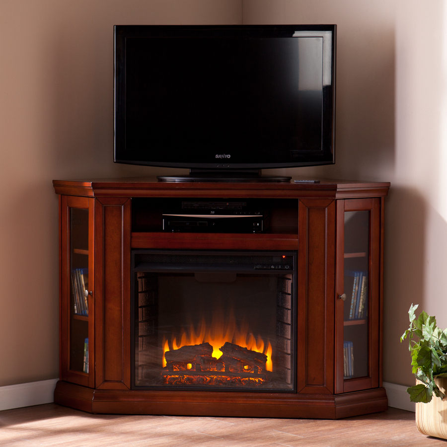 50 wood media electric fireplace tv console stand with