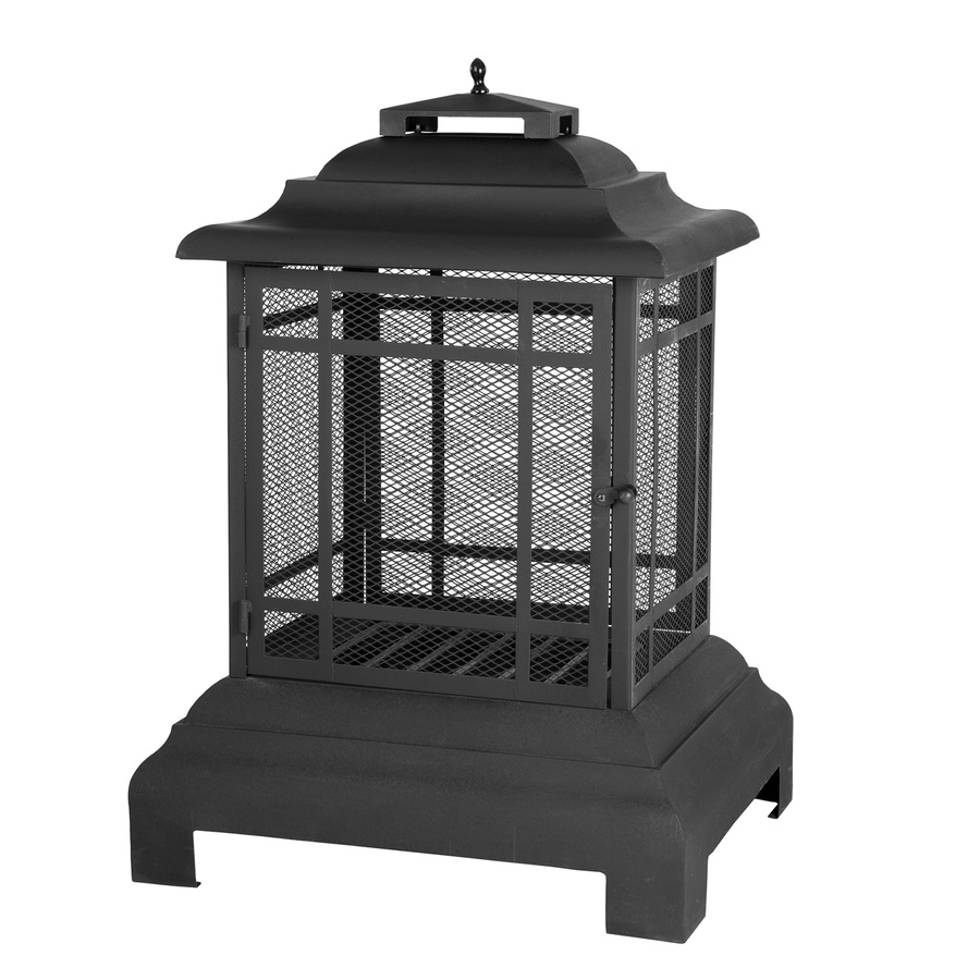 Backyard Fireplace Lowes :  Fire Sense Black Steel Outdoor WoodBurning Fireplace at Lowescom