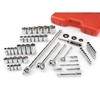 TEKTON 60-Piece Standard (SAE) 1/2-In; 3/8-in and 1/4-in Drive 6-Point Socket Set with Case