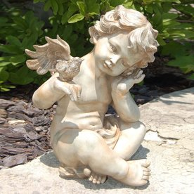 Lady Bug 13.5-in Winged Cherub Garden Statue