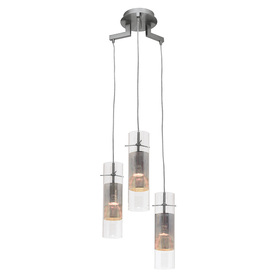 Shop Access Lighting Spartan Brushed Steel Multi Pendant Light With Clear Glass Shade At