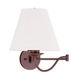 Swing Arm Wall Sconces Hardwired : Shop Livex Lighting Ridgedale 10-in W 1-Light Vintage Bronze Swing Arm Hardwired Wall Sconce at ...