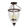 JVI Designs Danbury 11-in W Oil Rubbed Bronze Etched Glass Semi-Flush Mount Light