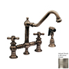 Whitehaus Collection Vintage III Brushed Nickel 2-Handle High-Arc Kitchen Faucet with Side Spray