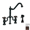 Whitehaus Collection Twisthaus Mahogany Bronze 2-Handle Low-Arc Kitchen Faucet with Side Spray