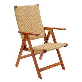 ACHLA Designs Natural Oiled Eucalyptus Folding Patio Conversation Chair