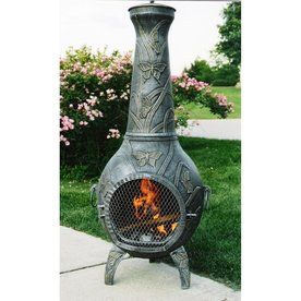 oakland living antique pewter cast iron outdoor wood burning fireplace