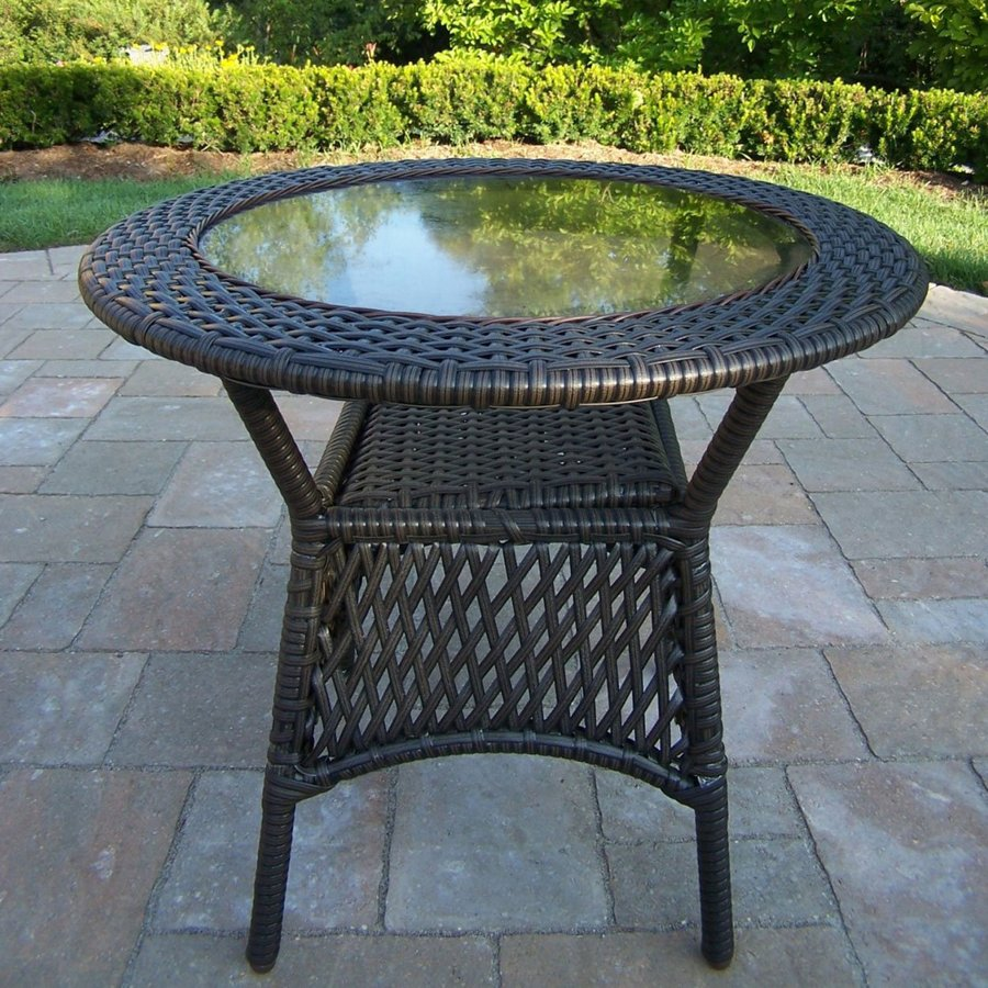 Shop Oakland Living Elite Resin Wicker 25 In Glass Top All Weather Wicker Frame Round Patio