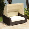 Source Outdoor King Espresso Wicker Daybed with Solid Cushion