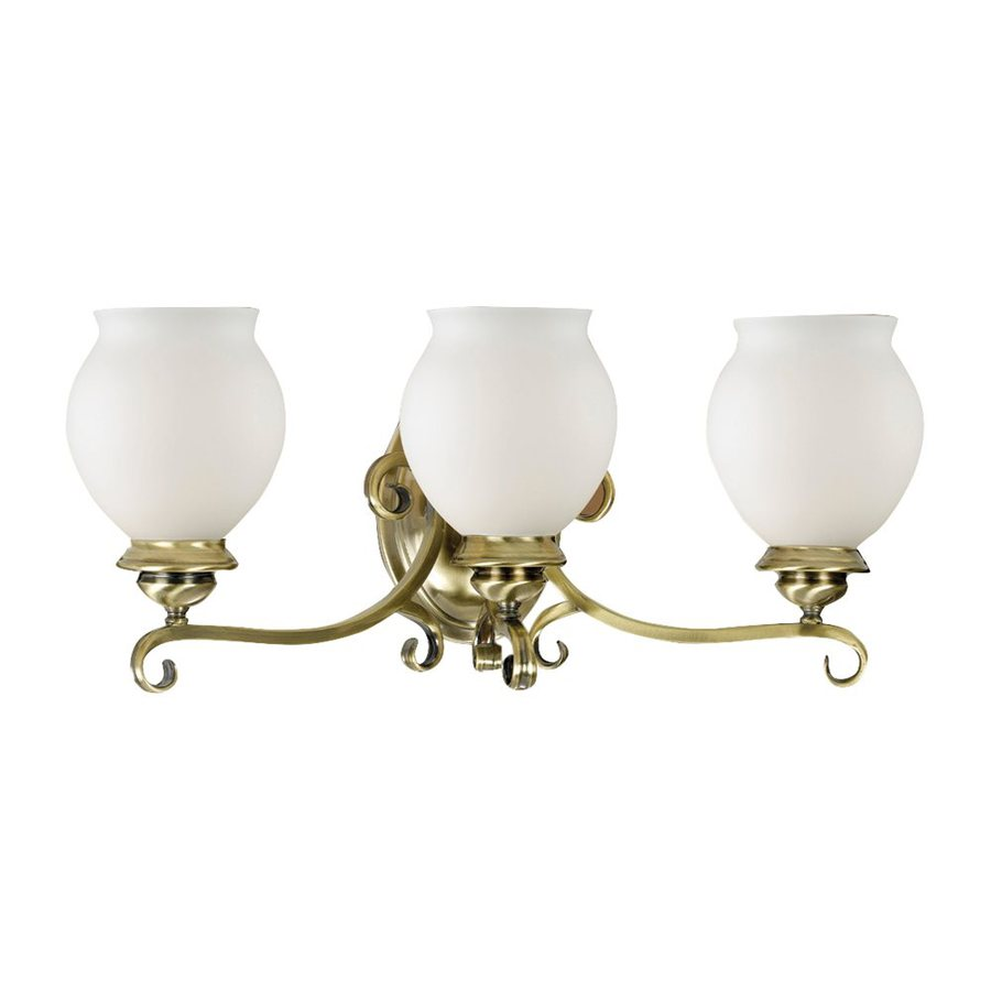 Antique Bathroom Vanity Lights : Shop Eurofase 3-Light Beatrice Antique Brass Bathroom Vanity Light at Lowes.com