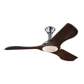 Monte Carlo Fan Company Minimalist 56-in Brushed Steel Downrod Mount Indoor Ceiling Fan with LED Light Kit and Remote (3-Blade)