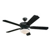 Monte Carlo Fan Company Weatherford 52-in Matte Black Downrod Mount Indoor/Outdoor Ceiling Fan with Light Kit (5-Blade)