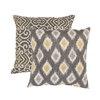 Pillow Perfect 2-Piece 16.5-in W x 16.5-in L Graphite Square Indoor Decorative Complete Pillows