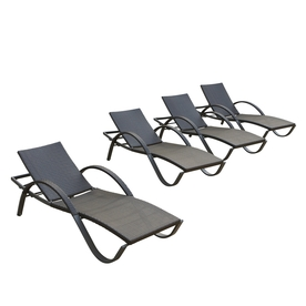 RST Brands Deco 4-Count Wicker Stackable Patio Chaise Lounge Chairs