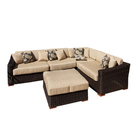 Shop Rst Brands 5 Piece All Weather Wicker Cushioned Patio Sectional Furniture Set With Ottoman