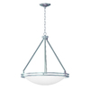 Access Lighting Aztec 21-in W Brushed Steel Pendant Light with White Shade