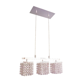 Lighting bedazzle 18 in w 3 light chrome crystal kitchen island light