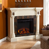 Boston Loft Furnishings 44.5-in W 4,700-BTUIvory Wood Fan-Forced Electric Fireplace with Thermostat and Remote Control