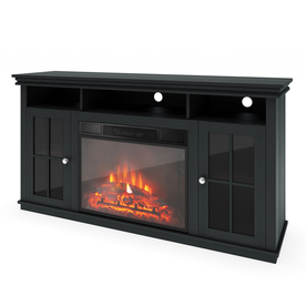 shop sonax 60 in w btu black wood electric fireplace with