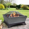 Jeco 26-in W Black/Silver Steel Wood-Burning Fire Pit