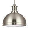 Sea Gull Lighting Pratt Street 9.5-in W Brushed Nickel Vintage Pendant Light with Metal Shade ENERGY STAR