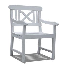 Shop vifah bradley white wood slat seat patio chair at lowes com