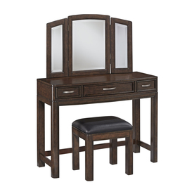 Shop Home Styles Crescent Hill Two Tone Tortoise Shell Black Makeup Vanity With Stool At