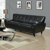 Monarch Specialties Black Bonded Leather Stationary Sofa