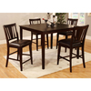 Furniture of America Bridgette Espresso Dining Set with Square Counter Table