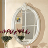 Furniture of America 28-in x 44-in Pearl White Oval Framed Wall Mirror