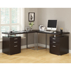 Monarch Specialties Cappuccino L-Shaped Desk