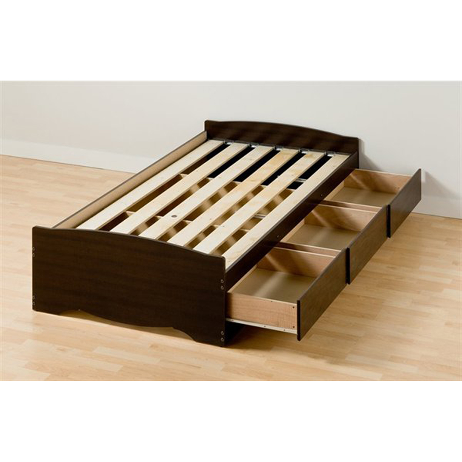 ... furniture mate s espresso twin extra long platform bed with storage