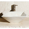 Allstone Crema Marfil Stone Vessel Square Bathroom Sink