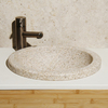 Allstone Lathe Desert Yellow Granite Drop-In Round Bathroom Sink