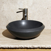 Allstone Black Lava Stone Vessel Round Bathroom Sink