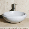 Allstone Carrara White Marble Vessel Round Bathroom Sink