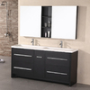Design Element Perfecta Espresso Integral Double Sink Oak Bathroom Vanity with Solid Surface Top (Common: 63-in x 20-in; Actual: 63-in x 20-in)