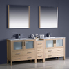 Fresca Bari Light Oak Undermount Double Sink Bathroom Vanity with Top (Faucet Included) (Common: 34-in x 18-in; Actual: 83.5-in x 18.13-in)