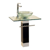 Kokols USA Clear Vessel Single Sink Bathroom Vanity with Tempered Glass and Glass Top (Faucet Included) (Common: 22-in x 20-in; Actual: 21.63-in x 19.65-in)