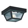 Sea Gull Lighting 8.25-in W Black Outdoor Flush-Mount Light